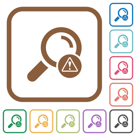 Search error simple icons in color rounded square frames on white background