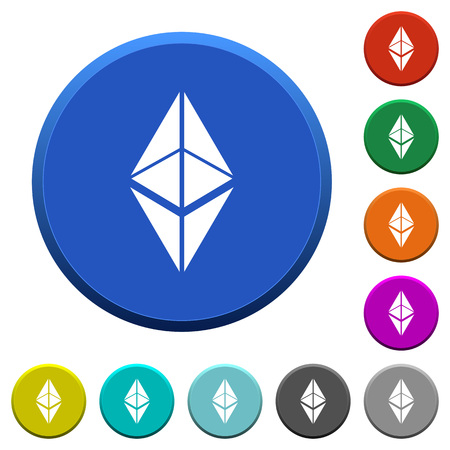 Ethereum classic digital cryptocurrency round color beveled buttons with smooth surfaces and flat white icons