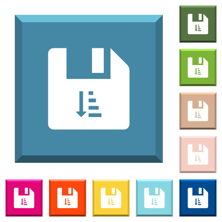 Ascending file sort white icons on edged square buttons in various trendy colors Иллюстрация