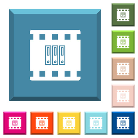 Archive movie white icons on edged square buttons in various trendy colors