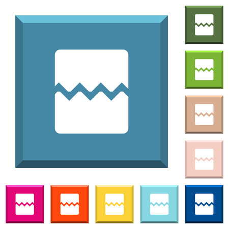 Page break white icons on edged square buttons in various trendy colors Ilustrace