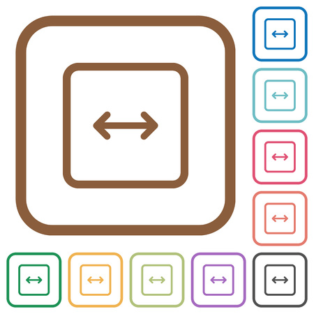 Adjust object width simple icons in color rounded square frames on white background