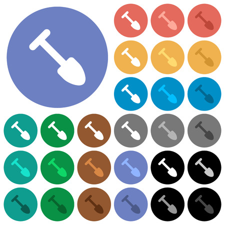Shovel multi colored flat icons on round backgrounds. Included white, light and dark icon variations for hover and active status effects, and bonus shades.