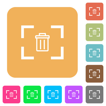 Delete image from camera flat icons on rounded square vivid color backgrounds. Illustration