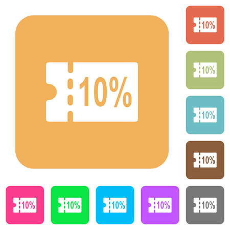 10 percent discount coupon flat icons on rounded square vivid color backgrounds.