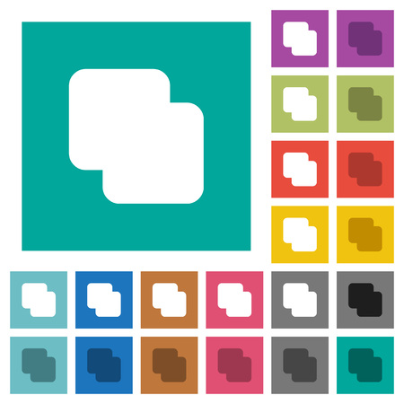 Add shapes multi colored flat icons on plain square backgrounds. Included white and darker icon variations for hover or active effects.