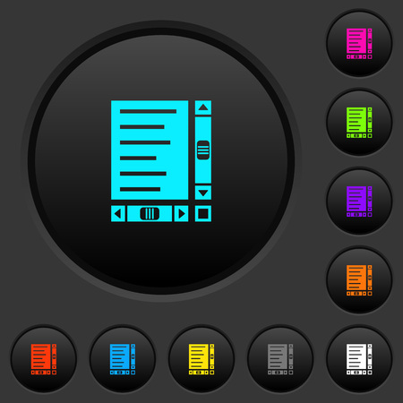 Document with content and scroll bars dark push buttons with vivid color icons on dark grey background