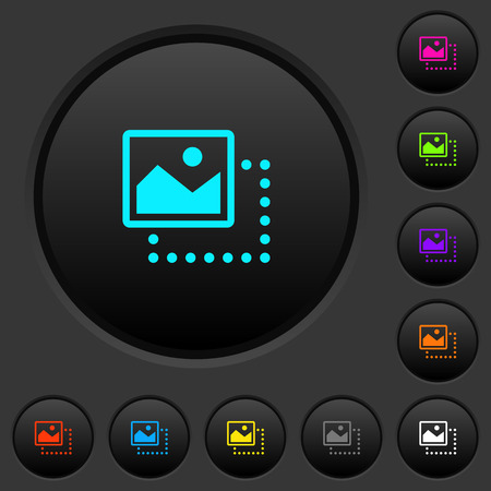 Drag image to top left dark push buttons with vivid color icons on dark grey background Stock Illustratie