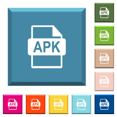 APK file format white icons on edged square buttons in various trendy colors Stock Illustratie