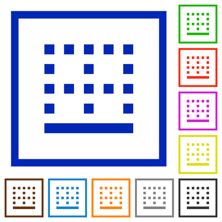 Bottom border flat color icons in square frames on white background Vectores