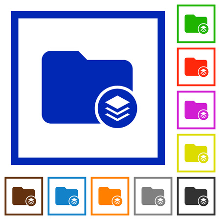 Directory structure flat color icons in square frames on white background