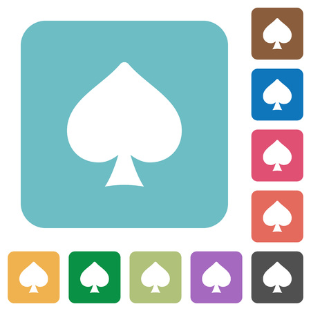 Spades card symbol white flat icons on color rounded square backgrounds Illusztráció