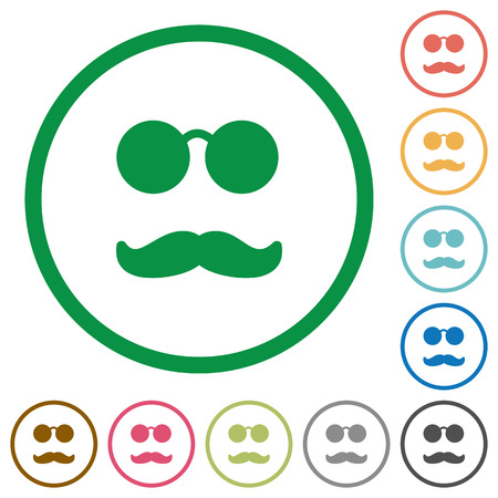 Glasses and mustache flat color icons in round outlines on white background