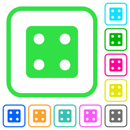 Dice four vivid colored flat icons in curved borders on white background