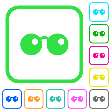 Sunglasses vivid colored flat icons in curved borders on white background