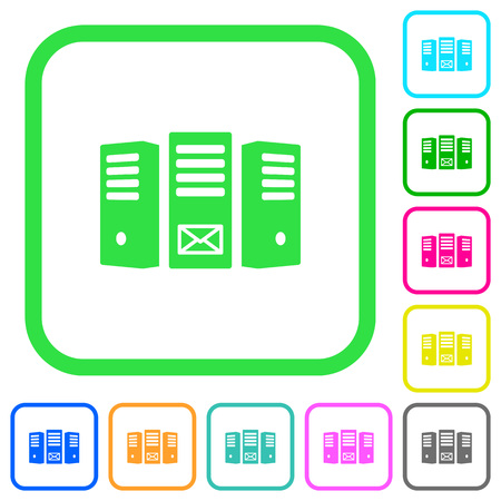 Mail server vivid colored flat icons in curved borders on white background