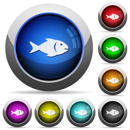 Fischsymbole in runden glänzenden Knöpfen mit Stahlrahmen