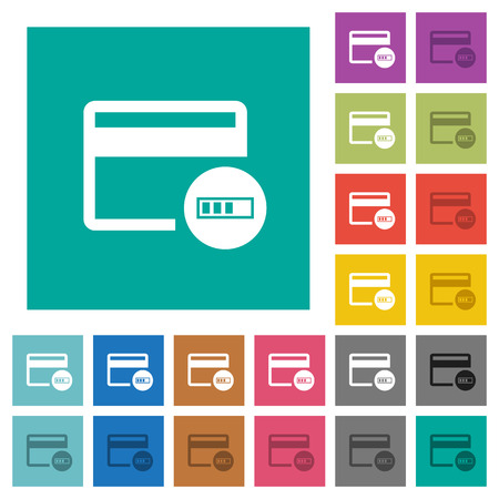 Verifying credit card multi colored flat icons on plain square backgrounds. Included white and darker icon variations for hover or active effects. Ilustración de vector