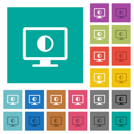 Adjust screen contrast multi colored flat icons on plain square backgrounds. Included white and darker icon variations for hover or active effects.