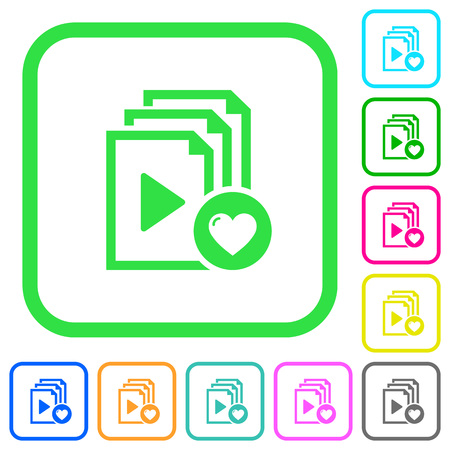 Favorite playlist vivid colored flat icons in curved borders on white background