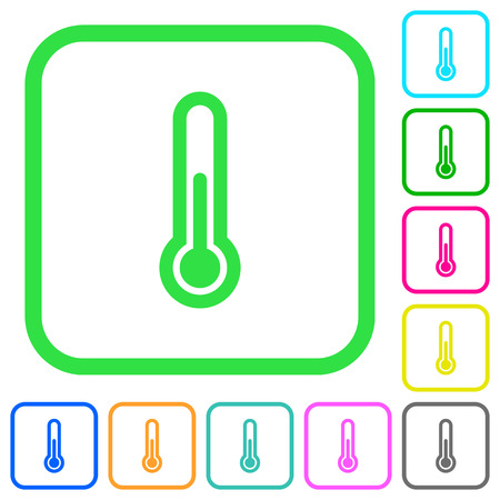 Thermometer vivid colored flat icons in curved borders on white background