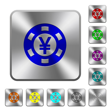 Yen casino chip engraved icons on rounded square glossy steel buttons