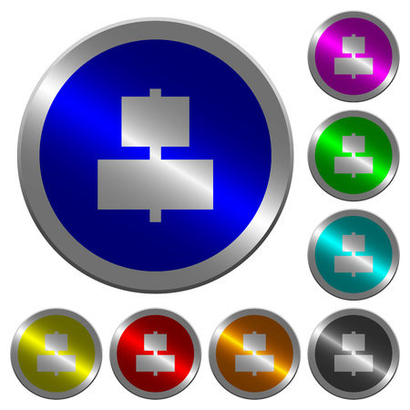 Align to center icons on round luminous coin-like color steel buttons