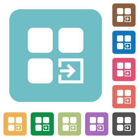 Import component white flat icons on color rounded square backgrounds