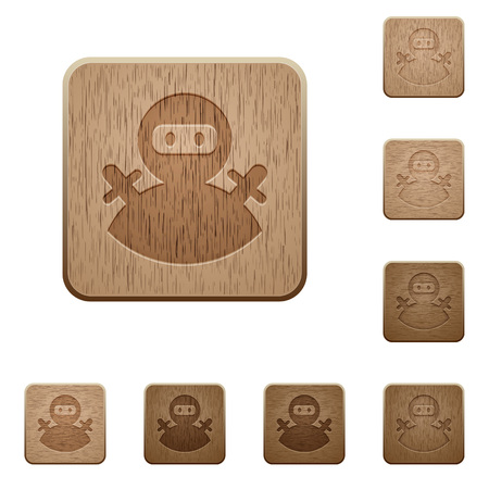 Ninja avatar on rounded square carved wooden button styles