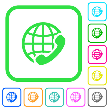 International call vivid colored flat icons in curved borders on white background Illustration