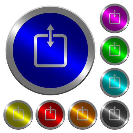 Adjust item height icons on round luminous coin-like color steel buttons Foto de archivo - 107243509