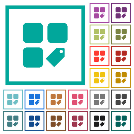 Tag component flat color icons with quadrant frames on white background