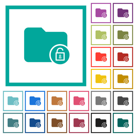 Unlock directory flat color icons with quadrant frames on white background