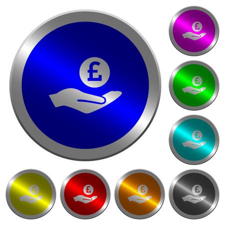 Icônes de gains en livres sur des boutons ronds en acier de couleur semblable à une pièce de monnaie Vecteurs