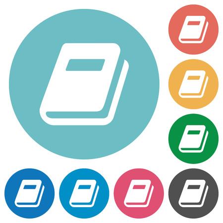 Icônes blanches plates de journal personnel sur des arrière-plans de couleur ronde Vecteurs