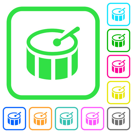 Drum vivid colored flat icons in curved borders on white background