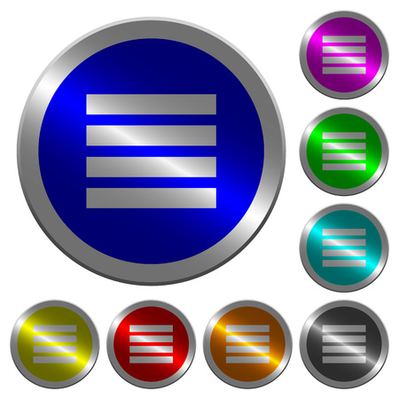 Text align justify icons on round luminous coin-like color steel buttons