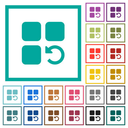 Undo component operation flat color icons with quadrant frames on white background Illusztráció