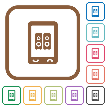 Mobile speakerphone simple icons in color rounded square frames on white background 向量圖像
