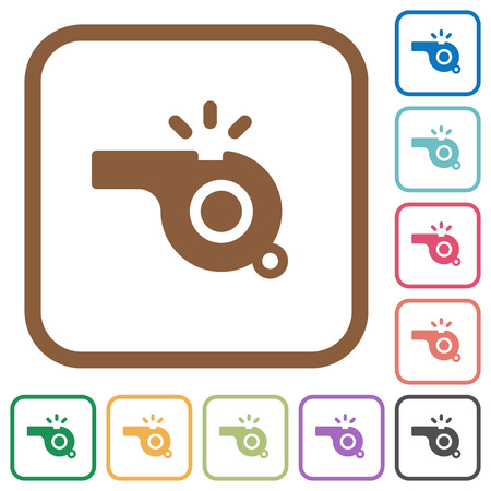 Whistle simple icons in color rounded square frames on white background Vector Illustratie