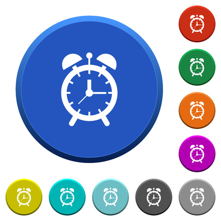 Alarm clock round color beveled buttons with smooth surfaces and flat white icons Illustration