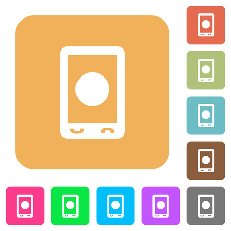 Mobile media record flat icons on rounded square vivid color backgrounds. Çizim