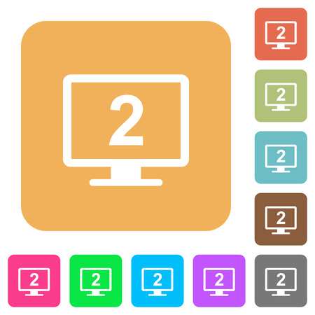 Secondary display flat icons on rounded square vivid color backgrounds. Illustration