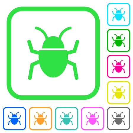 Bug vivid colored flat icons in curved borders on white background