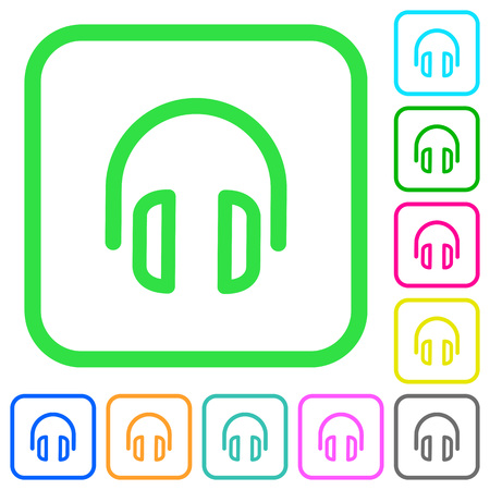 Headset vivid colored flat icons in curved borders on white background