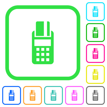 POS terminal vivid colored flat icons in curved borders on white background Векторная Иллюстрация