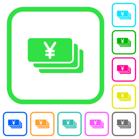 Yen banknotes vivid colored flat icons in curved borders on white background Illustration