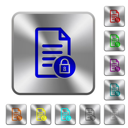Locked document engraved icons on rounded square glossy steel buttons