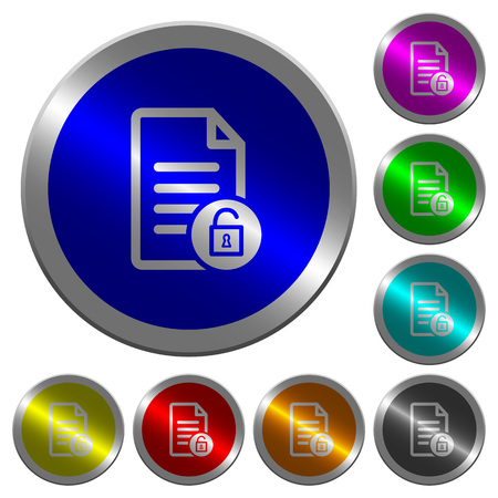 Unlock document icons on round luminous coin-like color steel buttons 向量圖像