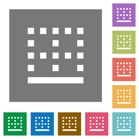 Bottom border flat icons on simple color square backgrounds